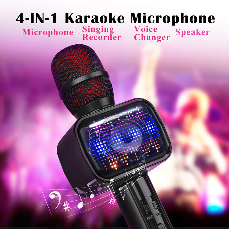 2019 UPDATED Bluetooth Karaoke Microphone, Speaker, Player, Recorder, Voice  Changer 4-IN-1 Wireless Mic with Dynamic LED Li