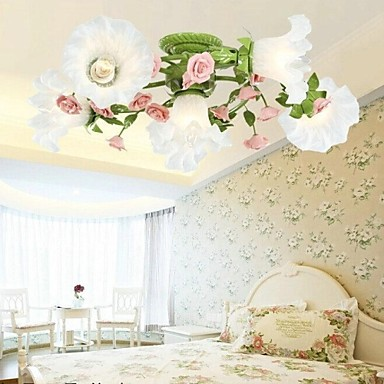 Flush Mount Country Style LED Ceiling Lamp With 6 Lights Colorful Flowers Fixtures For Home Lightings Living Room E14 25*70*70cm