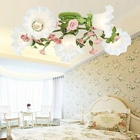 Encastré Pays Style LED Plafonnier Avec 6 Lumières Coloré Fleurs Appareils Pour La Maison Éclairages Salon E14 25*70*70 cm