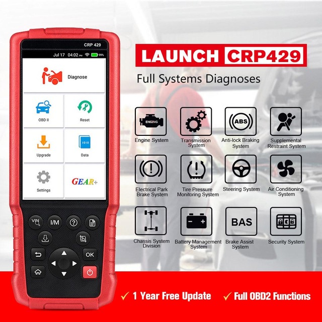 Launch CRP429 Car Diagnostic Tool Auto Scanner All System Diagnostics Scan Automotive Diagnosis IMMO DPF EPB PK MK808 CRP429C