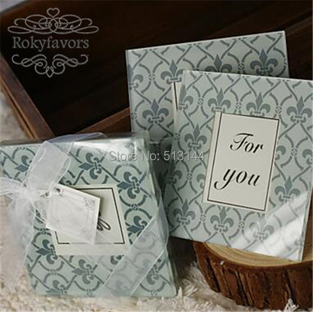 FREE SHIPIING 100PCS50SETS Fleur De Lis Glass Coaster Wedding Favors Party Shower Photo With Charm In From Home Garden