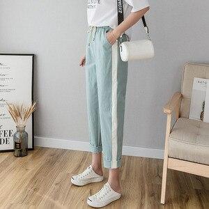 Image 1 - Bawełniane lniane spodnie do kostek damskie wiosenne letnie spodnie typu Casual spodnie ołówkowe w stylu Casual pasiaste damskie spodnie Green Pink