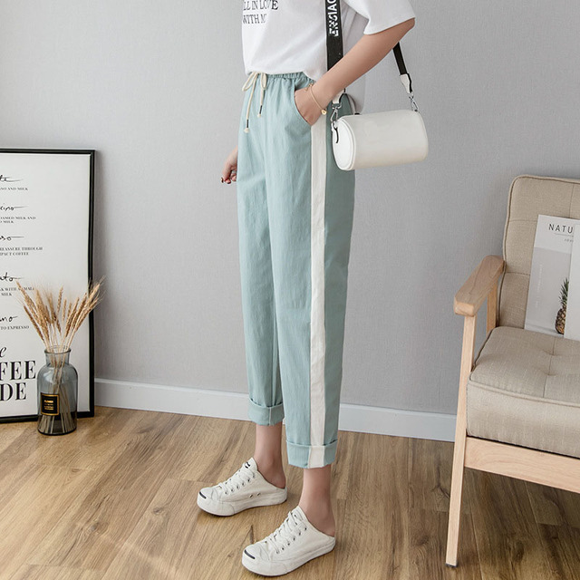 Cotton Linen Ankle Length Pants Women's Spring Summer Casual Trousers Pencil Casual Pants Striped Women's Trousers Green Pink 1