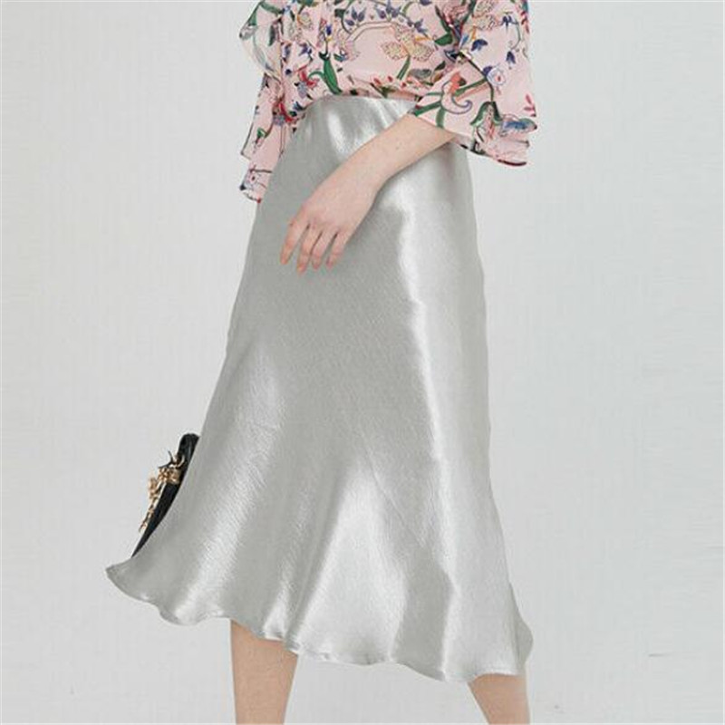 Women Satin Silk Skirt New Sexy Solid Color Midi Skirts Ladies' Fashionable Elegant A-line Shiny Underskirts Summer Hot Selling
