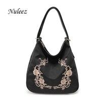Nuleez Waterproof Embroidery Nylon Bag Flower Women Leather Shoulder Bag Casual Ladies Backpack Black Mummy Weekend