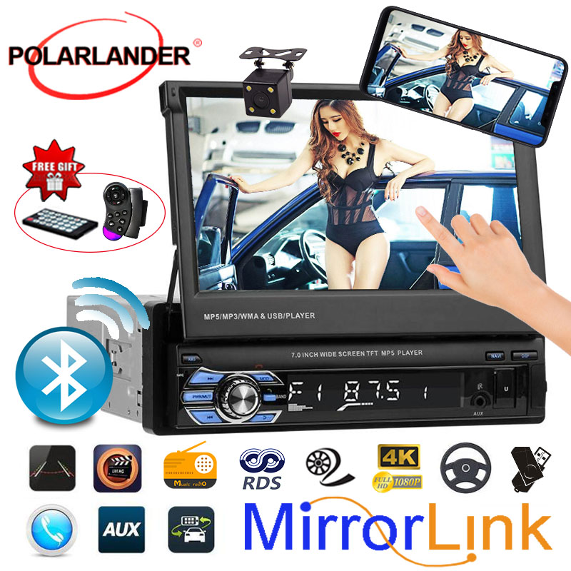 1 Din Carro mp4 mp5 Player Vedio Áudio Do Carro De Rádio Estéreo 7' HD Ligação Espelho Toque rádio do carro Tela Retrátil leitor de cassetes