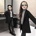 Spring Autumn Wind Girls Button Long Sleeved Jacket Suit Kids Clothing Black Cotton