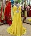Vestido de noche largo amarillo un line 2016 sin respaldo con el cristal gasa con cuentas formal vestidos de festa longos