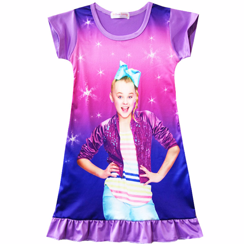 2018 Girl Kids Jojo siwa Pyjama Nightie Dress Cartoon Sleep Wear Print Nightgown Pajama Nightie Cute Princess Nightwear Dress all over cartoon print pajama set