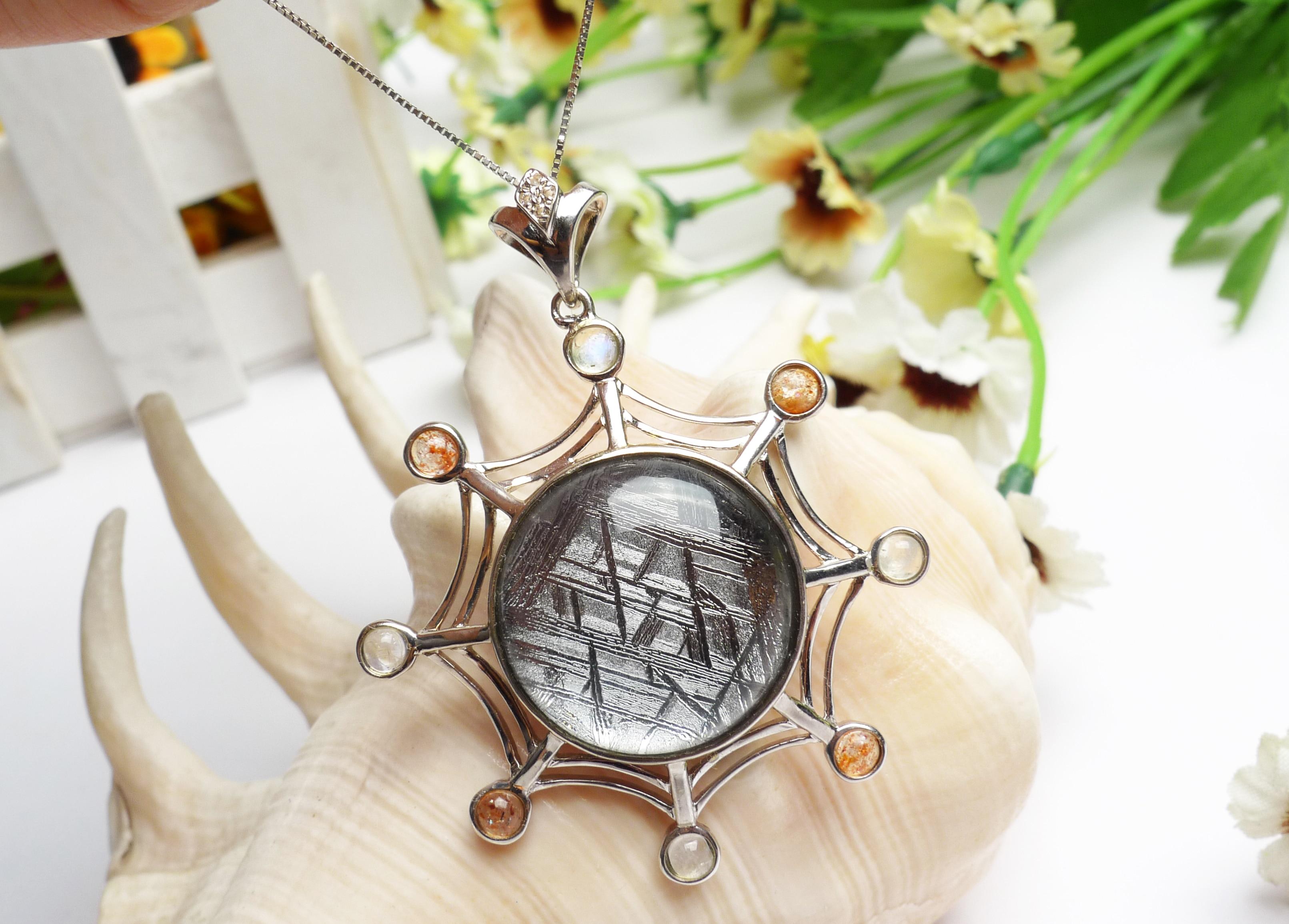 Genuine Natural Gibeon Iron Meteorite Moldavite Women Men 39x39mm Silver Jewelry STAR OF DAVID Real Gemstone Pendant AAAAA