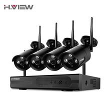 H.View Video Surveillance System 1080P IP WIFI CCTV Set 4CH CCTV NVR 4 PCS 1080P Surveillance Cameras Android iPhone Access