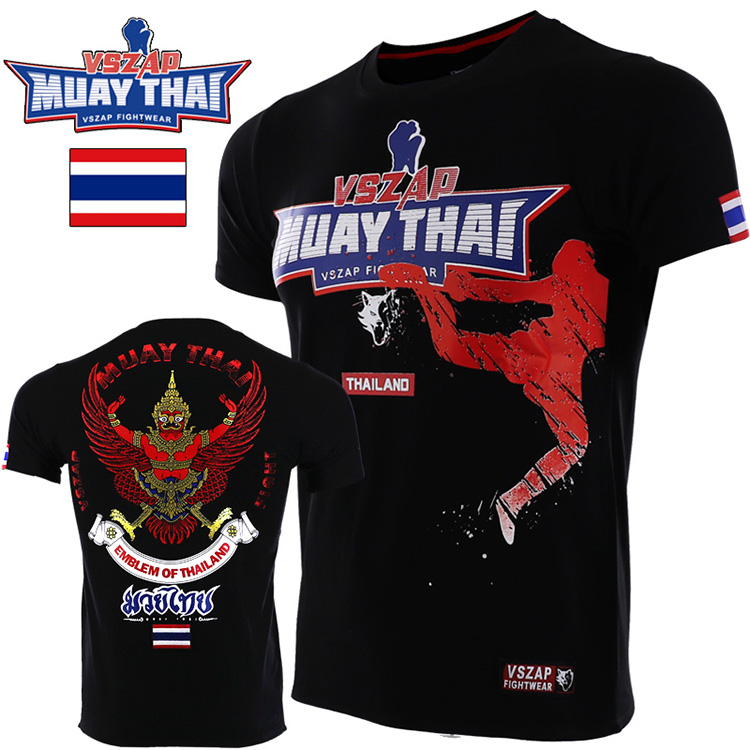 VSZAP Combat MMA Fly Kick MUAY THAI THAI Boxing  Short Sleeve T-shirt Campaign Broadcast For Wulin Wind Fitness