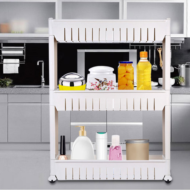 3 Tier Gap Storage Slim Slide Out Tower Rack Shelf Wheels Laundry Bathroom  Kitchen Tool