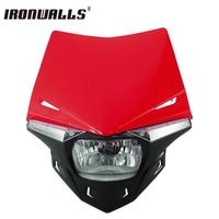 Ironwalls Red Black Motorcycle LED Headlight Fairing Kit UFO Enduro Hi Lo Beam 12V For Yamaha Honda Suzuki Scooter Streetfighter
