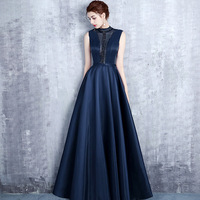 Navy Blue High Neck See Through Vestido De Festa Luxury Beading Pleated Satin Formal A line Long Evening Dresses Party Prom Gown