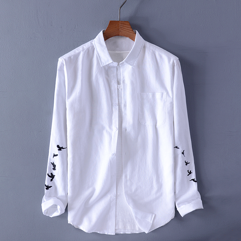 2019 New Cotton And Linen Men's Casual Shirt Fashion Embroidery Shirt Male Long Sleeve White Shirts Men Brand Tops Chemise