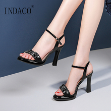 цена на Summer Sandals 2019 Open Toe Black High Heels Shoes Rhinestone Woman Sandals Heels 10cm