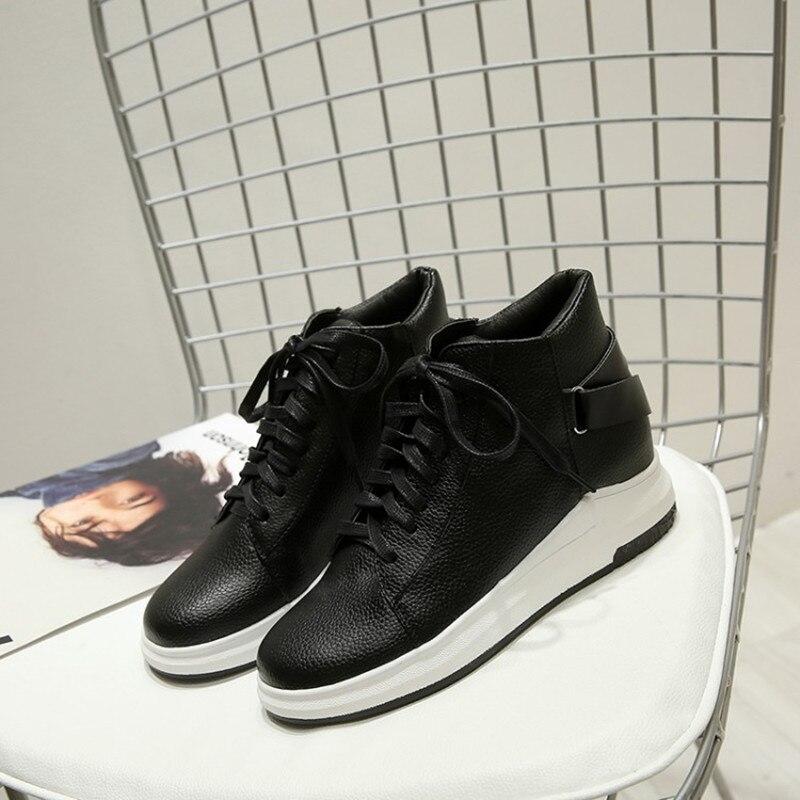 Grande taille 34-43 femmes bottes compensées cacher talons bottes décontractées doux plat cheville Martin chaussures mujer mode à lacets Sport bottines - 6