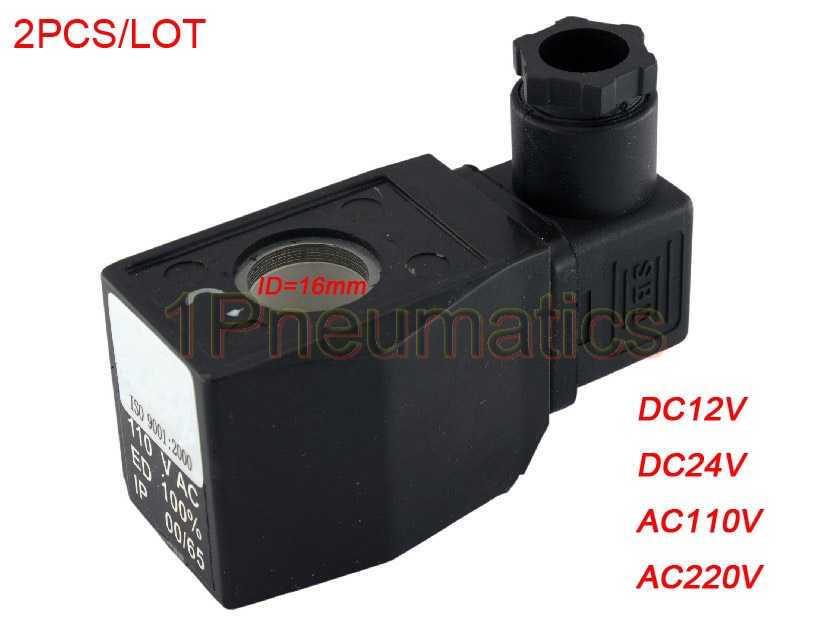 Free Shipping 2PCS/Lot DIN43650A CKD Solenoid Coil AB410 16mm Core Dia Black free shipping 1pcs lot fuse core ngtc1 125a