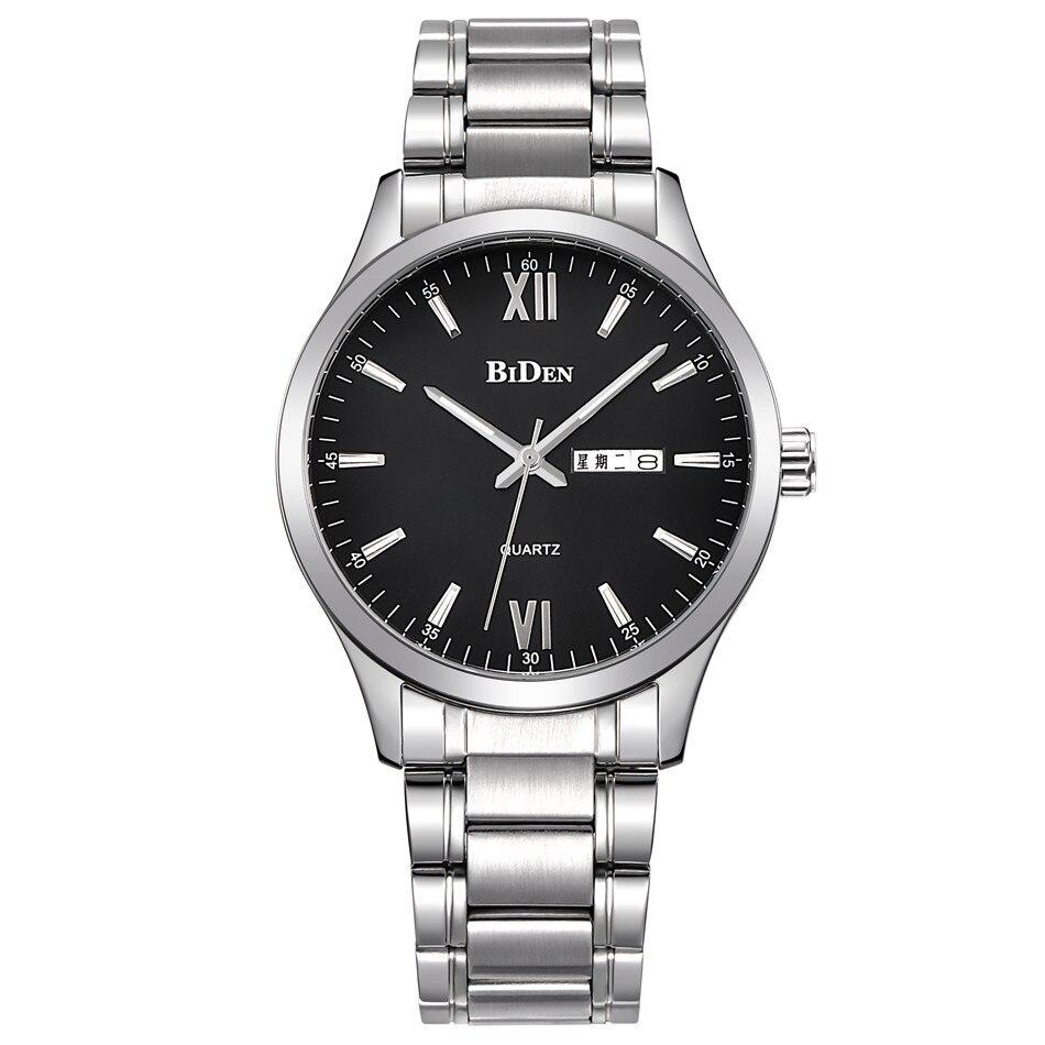 man watch Biden brand mens stainless steel wristwatches quartz man watches casual waterproof calendar week male clocks