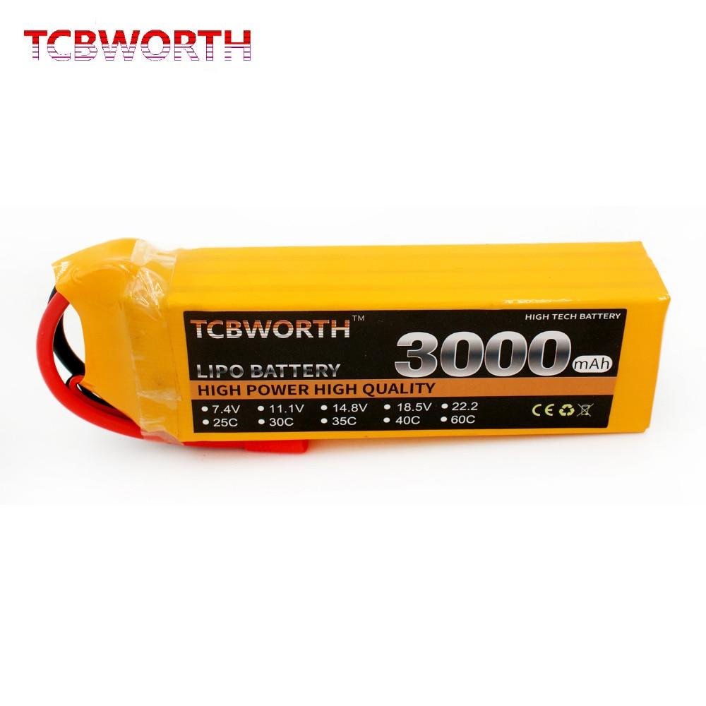 TCBWORTH RC LiPo battery 14.8V 3000mAh 60C Max 120C 4S For RC Airplane Quadrotor Drone Truck AKKU Li-ion battery 4 2v 6a 1s lithium battery protection pcb bms board for 18650 18550 li ion lipo battery cell