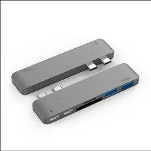 Фотография Aluminium Dual USB C Hub with 2 USB 3.0 SD/TF Card Reader Type-C Hub Charging Thunderbolt Data Transfer for Macbook Pro