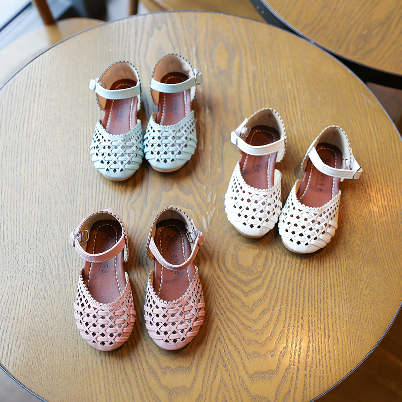 Girl shoes summer beach sandals kids woven shoes flat sandals children orthopedic footwear chaussure fille pink blue white color ...