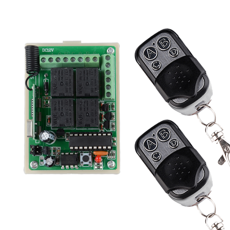 RF Wireless Remote Switch Control Lighting Switch 12V 4Channel (4 Relays)1 Receiver & 2Transmitters 2CH Toggle +2CH Momentary