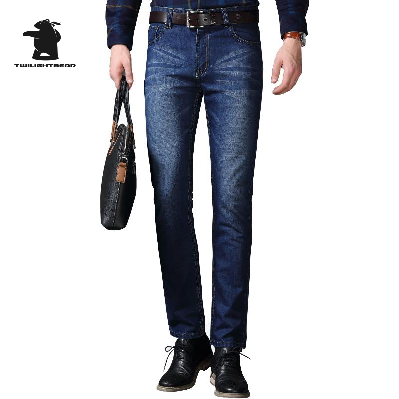 New Men s Business Jeans Brand Fashion Designer Plus Size Business Embroidery Straight Jeans For Men