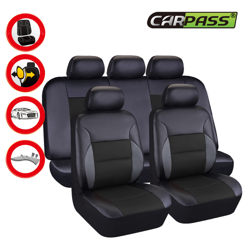 Car Pass Artificial Leather Auto Car Seat Covers Universal ...