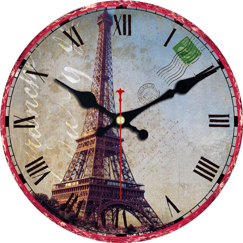 wonzom eiffel tower large paris decorative round wall clock living room wall decor saat fashion. Black Bedroom Furniture Sets. Home Design Ideas