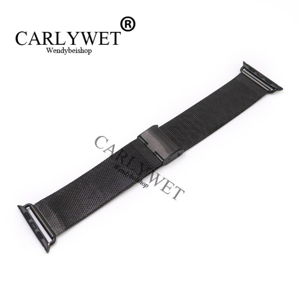 CARLYWET 38 42mm En Gros Connecteur Adaptateur Noir Ultra-mince Maille Inoxydable Bracelet En Acier Bracelet Pour Apple Montre iWatch