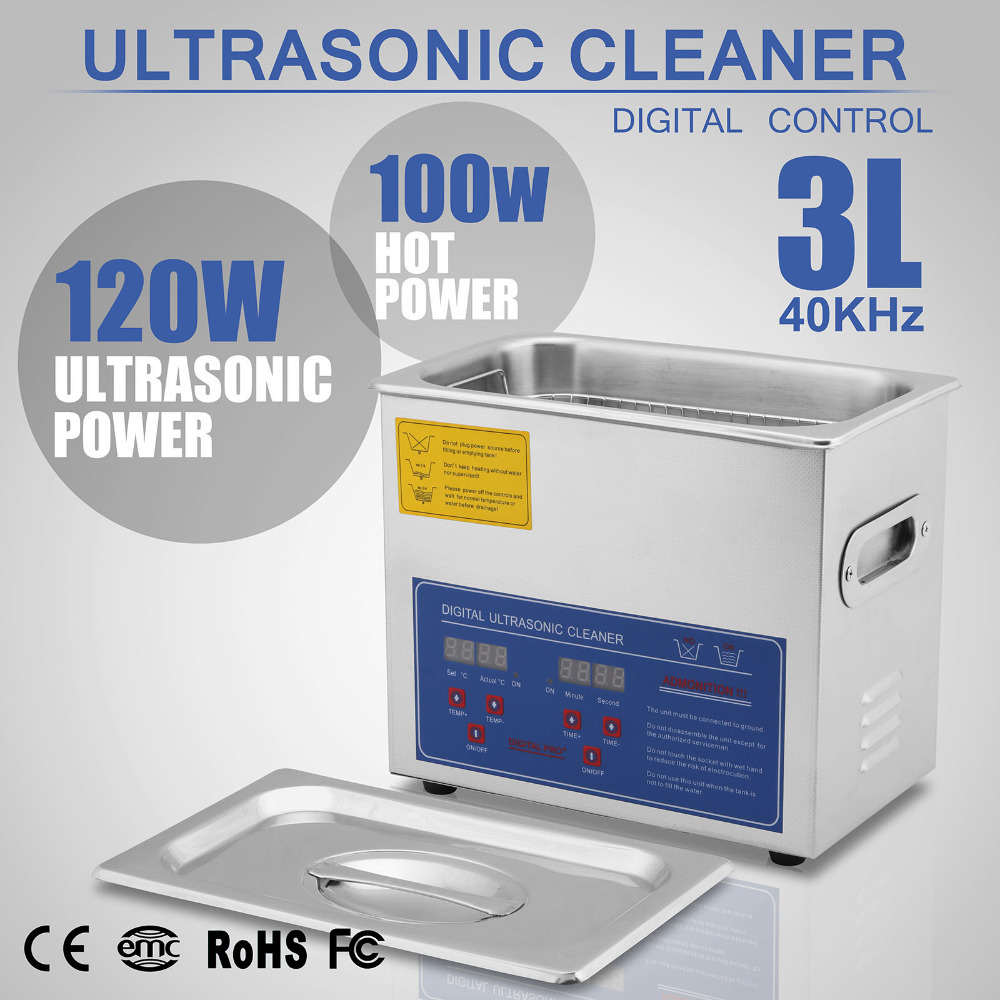 (US Warehouse Free Shipping) Stainless Steel Industry Ultrasonic Cleaner 3L Heated Heater w/Timer ship from germany stainless steel 15l ultrasonic cleaner industry heater heated cleaning with timer