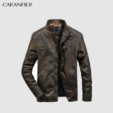 CARANFIER Mens Leather Jackets High Quality Winter Vintage Motorcycle Overcoat Stand Collar Zipper Pockets Solid Coats Outerwear(China)