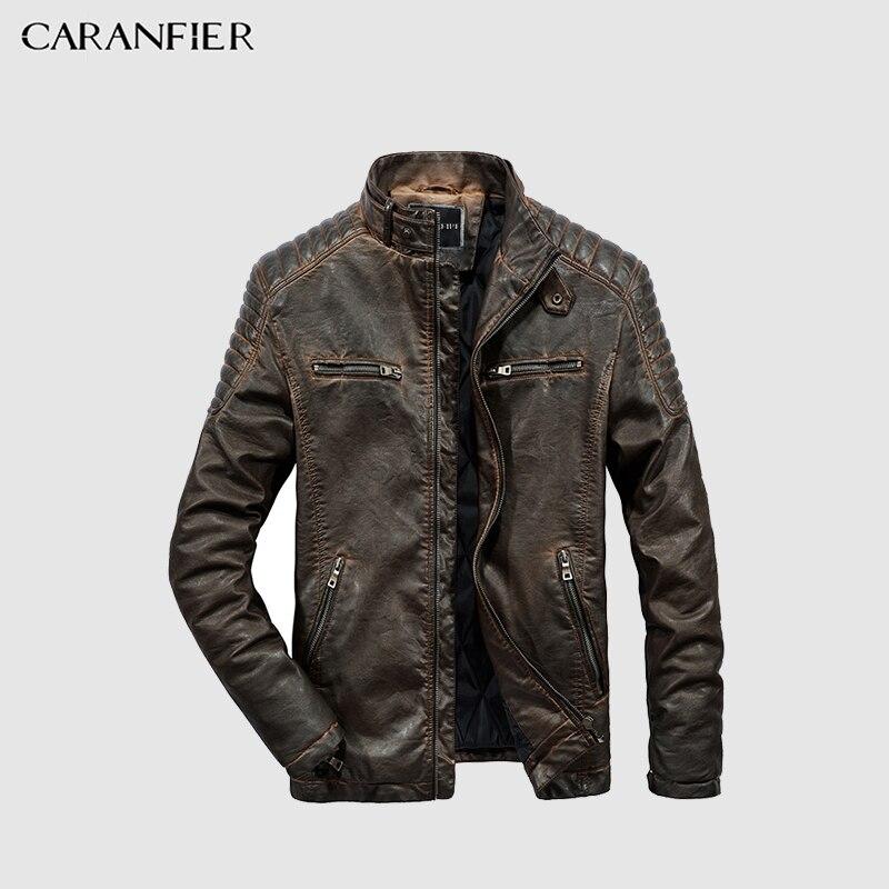 CARANFIER رجل سترات من الجلد عالية الجودة الشتاء خمر دراجة نارية معطف الوقوف طوق سستة جيوب الصلبة معاطف-في معاطف من الجلد الصناعي من ملابس الرجال على  مجموعة 1