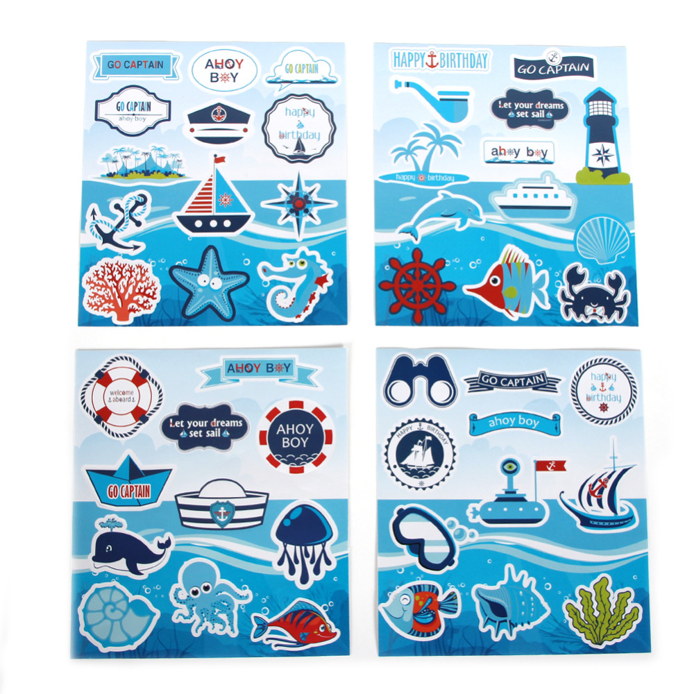 4pcs Nautical Ahoy Baby Shower Stickers Nursery Vo...
