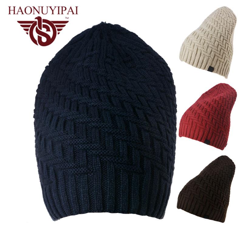 Warm Thicken knitted Man Beanies Skullies Casual Fashion Hip-hop Hat Outdoor Ski Sport Gorros Cap Plus Velvet Hiking Snow Caps skullies