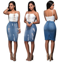 2017 Summer New Style Dress Women S Set Casual Suits Hollow Out Sling Tops Sleeveless Tight