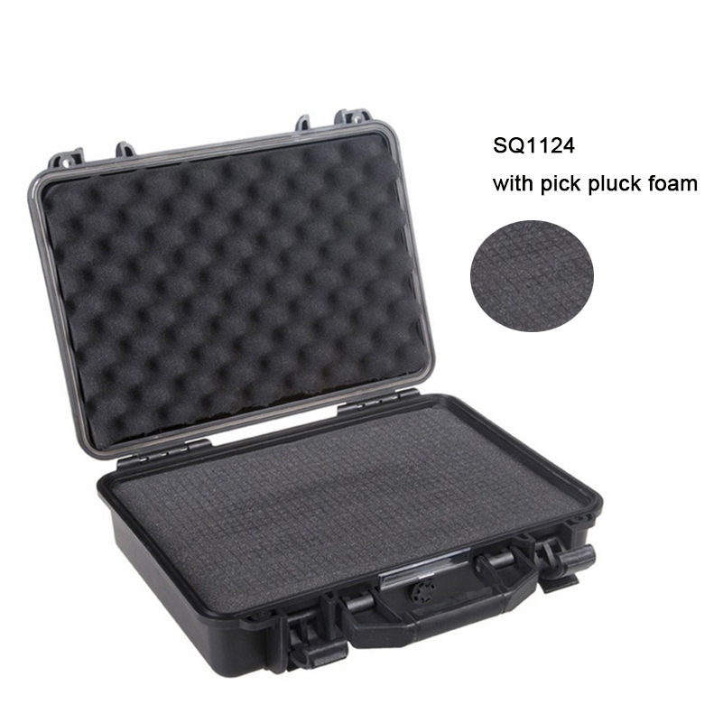 SQ1124 external 425*325*118mm waterproof plastic protective case with pick pluck foam sq2620 high impact pp simple plastic tool case with pick pluck foam inside