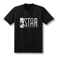 2016 New Men Summer T Shirts The Flash Team Star Lab Printed 100 180g Combed Cotton