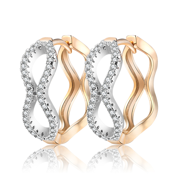 2017 New Gold-Color Big Hoop Earrings For Women Aros Crystal Zircon Orecchini Brinco Free shipping(35E18k-10)