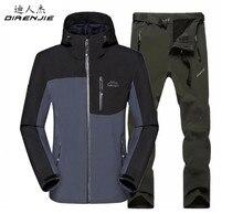 DIRENJIE  Man Fishing Winter Waterproof Sportswear suit Outdoor Trekking Camping Hiking Fleece Soft Shell Jacket+ Pant sets