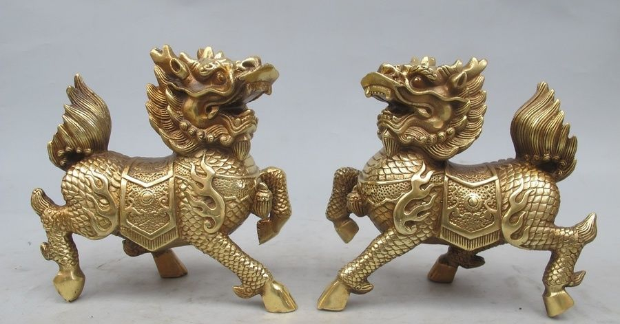 China Pure Brass Copper FengShui Evil Foo Dog Kylin Kilin Chi-lin beast PairChina Pure Brass Copper FengShui Evil Foo Dog Kylin Kilin Chi-lin beast Pair