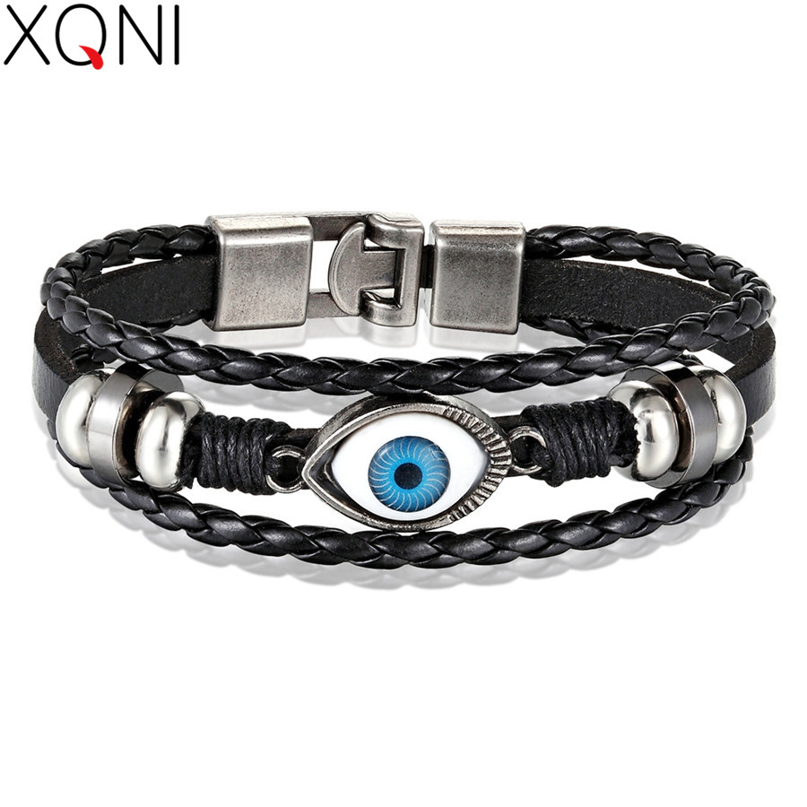 XQNI Multi-layers Neo-Gothic Pattern Evil Eye Design Leather Bracelet For Men Personality Jewelry Accessories Birthday Gift