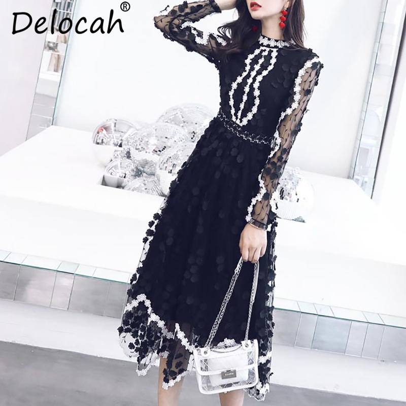Delocah Vintage Black Dresses Runway Fashion Designer Long Sleeve Gorgeous Mesh Embroidery Appliques Dress Autumn Women
