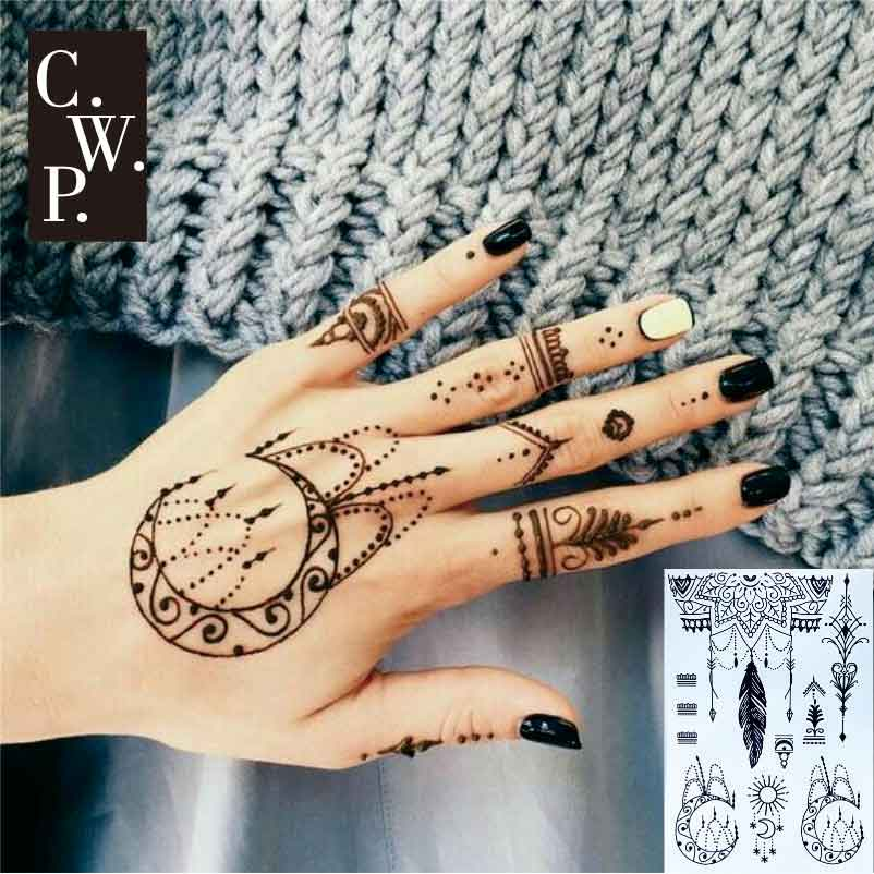 Bh Piece Black Henna With Moon And Sun Tribal Pattern Temporary Tattoo For Hands