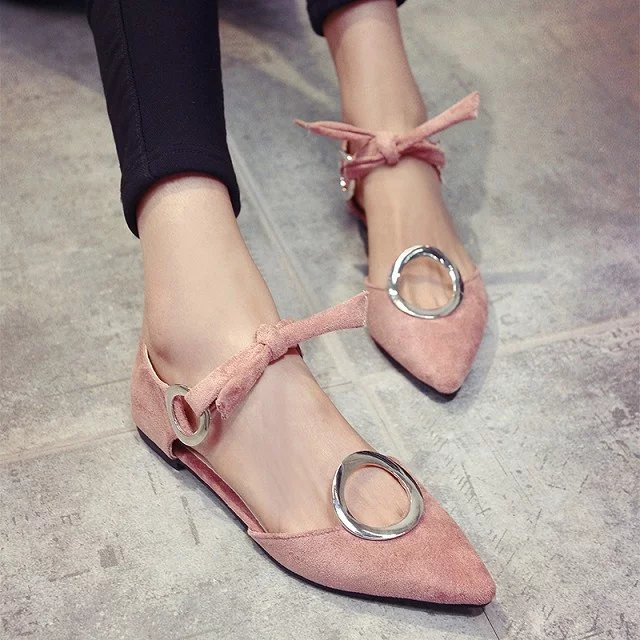 2017 Spring Summer Flat Heel Shoes Sexy Casual Pointed Toe Flats Sandals Sweet Young Girl Round Buckle Flats new 2017 spring summer women shoes pointed toe high quality brand fashion womens flats ladies plus size 41 sweet flock t179