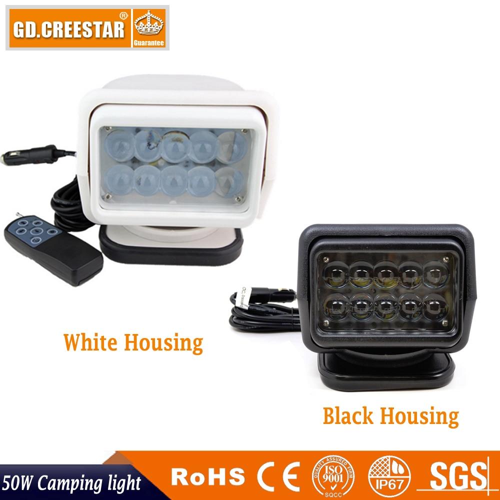 все цены на IP67 10-30V Remote control LED Searchlight 12v 7inch 50W Spotlight LED Work Light TRUCK SUV BOAT MARINE driving light x1pc онлайн