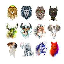 Cool Lion Deer Wolf Owl Iron-on Thermal Patches Stickers for Clothing Embroidery DIY Applique Heat Transfers T-shirt Clothes