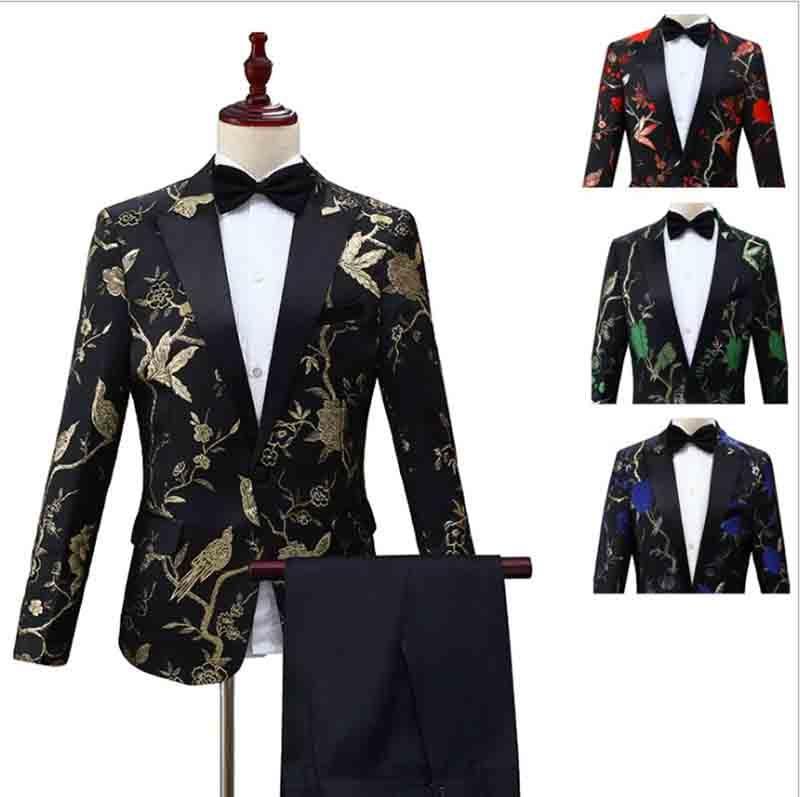 Men`s 2 Piece Deluxe Tuxedo Suit Grooms Wedding Dress Lapel One Button Suit For Men Conductor Costume For Men Plus Size XXL